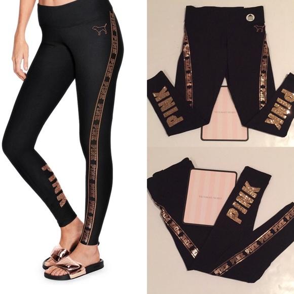 Pink Victorias Secret Pants Vs Pink Gold Bing Logo Pocket Cotton